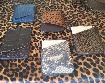 Super slim card holder in calf leather