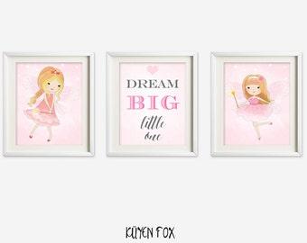 Fairy wall art - pink fairy nursery art - kids wall art - Nursery Decor - phrase wall decor - girl room decor - dream big - pink fairy art
