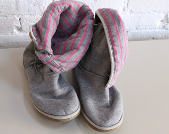 UGG Gray Sweater Boots with Pink Stripes