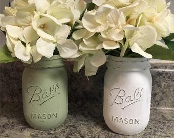 Green and white mason jar set
