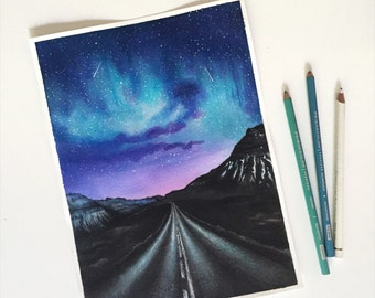 Mixed media painting, original painting, Star, Galaxy, mountains, travel