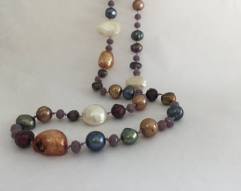 Pearl and Crystal 'Pegasus' Hand Knotted Necklace