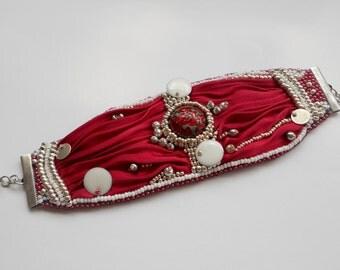 Bead Embroidery Bracelet with Shibori silk