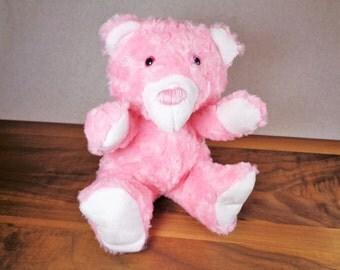Pink Princess Teddy Bear, Sparkly Pink Stuffed Animal for Girl, Fluffy Minky Stuffed Animal, Birthday Gift for Little Girl, Handmade Plushie