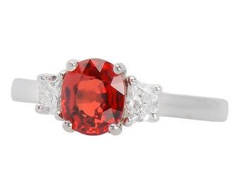 Orange Sapphire White Gold Ring 1.5 ct & Diamond - Vintage 1980's