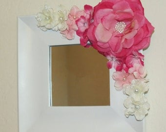 Radiant Rose: White Square Mirror with Pink Rhinestone Corner Rose and Floral Design