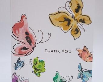Butterflies thank you card set