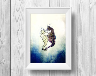 Kissing Seahorses - A3 Poster Print of Original Artwork, in Pen and Ink, and Coloured Pencil