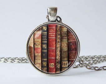 Book necklace Old books pendant Librarian jewelry Book lover necklace Reader gift Literacy necklace Literature Reading Book jewelry Library