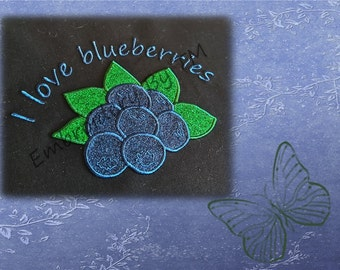 Blueberries applique machine embroidery design