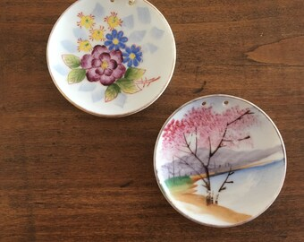 Vintage small hand painted plates