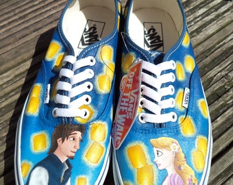 Hand Painted Tangled Floating Lanterns Shoes, Authentic Vans, UK Size 7.5