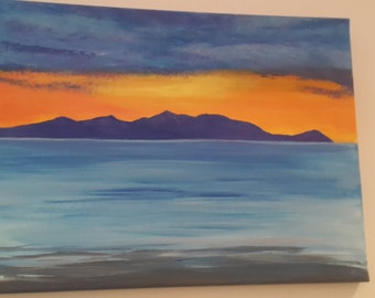Original one off Scottish landscape oil canvas painting, view of the Isle of Arran Ayrshire from West Coast Scotland