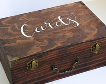 Rustic Hand-Painted Wood Wedding Cards Box, Party Cards Box, Wood Cards Box