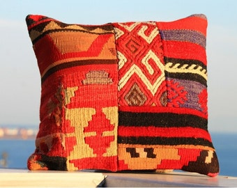 Turkish patchwork pillow cover vintage kilim case AY3