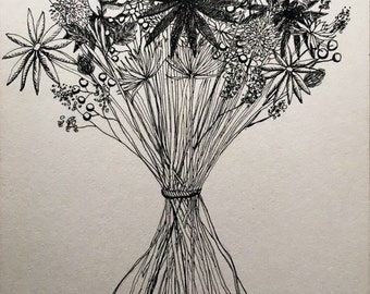 Bouquet ink drawing flowers 5x7 postcard