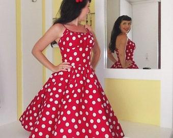 Pinup dress 'Rockabilly Summer Red Dot', very full skirted rockabilly dress, 50s style pinup dress
