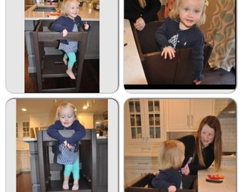 Kid's Collapsible / learning Helping stool Foldable and Adjustable with Engraving or Safety Door option