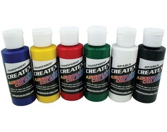 Airbrushing Paint Set CREATEX 6pc Primary Colors