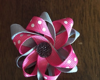 pink and grey 2 inch bow