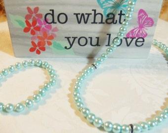 Aqua Pearls and Blue Sapphire Rondelles-Pearls-Rondelles-Pearl Necklace-Necklace-Pearl Bracelet-Elastic Bracelet-Birthday/Anniversary Gift