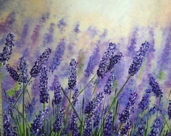 LAVENDER - Contemporary acrylic painting on stretched canvas - purple green cream