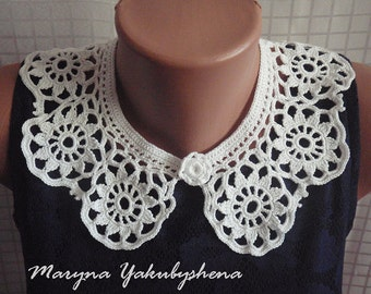 Crochet collar Crochet collar necklace Crochet jewelry Gift for her Lace collar white Crochet necklace Woman accessories