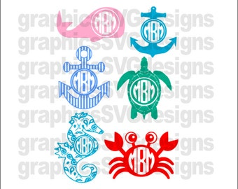 Summer Monograms Beach Monograms  Monogram SVG, DXF, PNG Files for Cricut and Silhouette cutting machines Summer svg bundle,