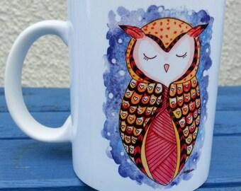 Illustrated horned owl mug