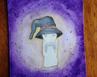 Original Wizard Watercolor Painting