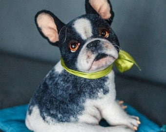 French Bulldog Puppy.  Handmade Needle Felted Wool Sculpture.