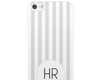 Grey and White Striped iPhone Case, Personalised iPhone Case, Custom iPhone Case, iPhone 5, iPhone 5s, iPhone 6, iPhone 6s, Gift