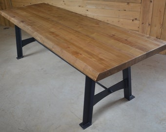 Table wood metal, base steel custom