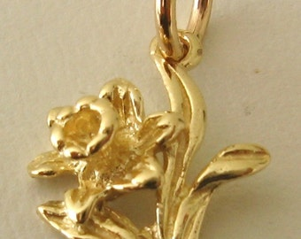 Genuine SOLID 9K 9ct YELLOW GOLD Daffodil Flower charm/pendant