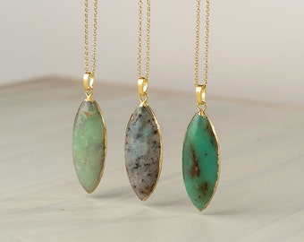 Australian Jade Necklace Natural Australian Jade Pendant Chrysoprase Necklace Statement Necklace  boho necklace simple elegant necklace