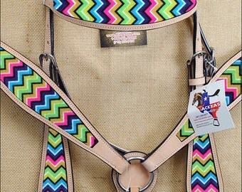 Chevron  Aztec Print Inlay Western Leather Western Horse Headstall Bridle Breast Collar Tack Set Leather