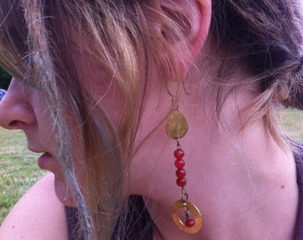 Carnelian and brass dangle earring