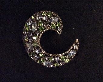 Weiss, brooch, pin, jewelry, blue, green rhinestones, pin