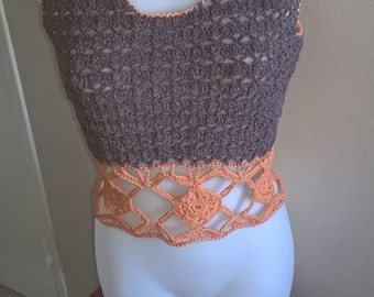 Pull crochet grey and coral, Bohemian