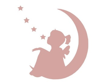 Girl with star and moon Decal