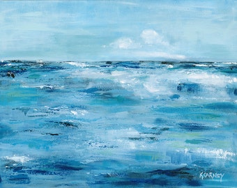 Blue Coast: Fine art giclee print of an abstract ocean from original acrylic painting