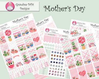 Top seller! Mother's Day Owl Printable Sticker Set for Classic and Large Happy Planner