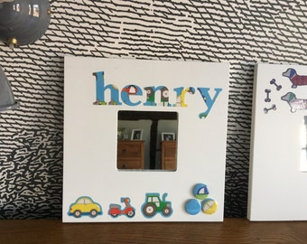 Personalised mirror - with vehicle and button motif