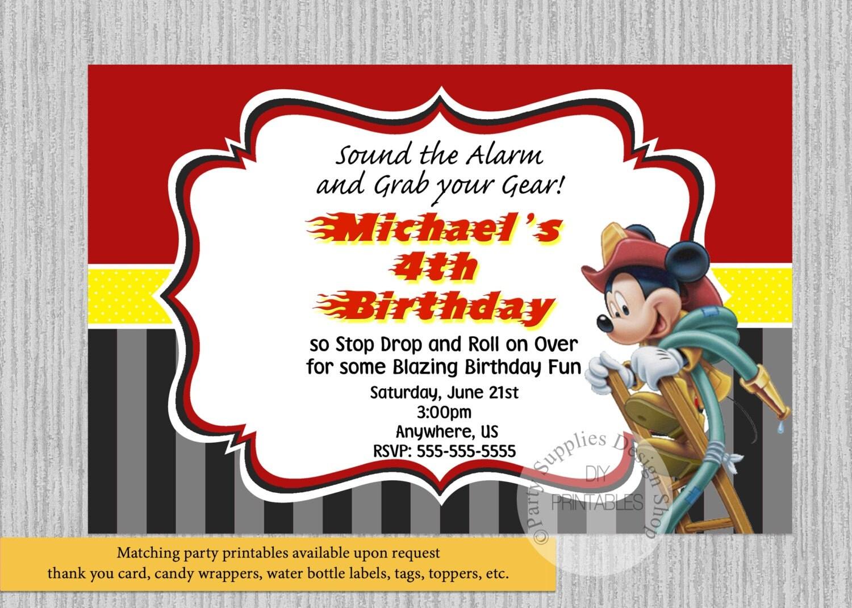 Bombero impreso o Digital Mickey Mouse cumpleaos