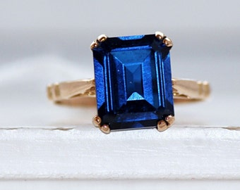 Stuning Solitaire Pure Solid Gold Ring With Sapphire 19.2k From Portugal Estate
