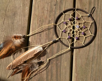 Small Dreamcatcher / dreamcatcher (available with multiple authentic natural crystal gemstone beads)