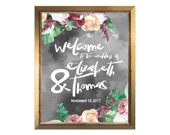 Boho Watercolor Wedding Welcome Sign