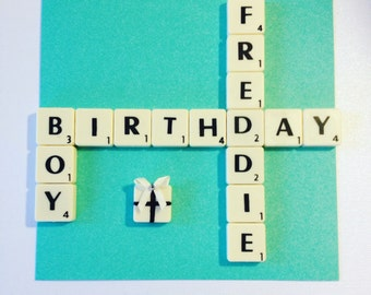 Personalised Scrabble Cards - All Names and Occasions - Birthday, Anniversary, Thank You, Congratulations, Sorry, Good Luck