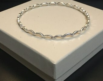 12 Gauge Sterling-Silver Small Wave Bangle
