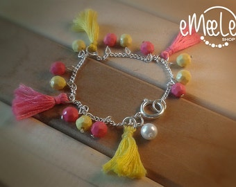 Tassels and beads bracelet (Pink and yellow)